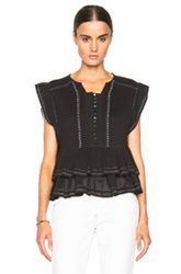 Isabel Marant Raquel Pleated Cotton Top In Black