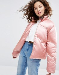 House Of Holland H By Henry Cropped Padded Jacket In Satin Pink