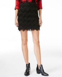 Maison Jules Fringe Mini Skirt Only At Macy's Deep Black