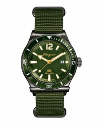 Salvatore Ferragamo Ion Plated Watch With Nylon Strap Olive Green