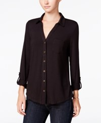 Maison Jules Roll Tab Sleeve Shirt Only At Macy's Deep Black