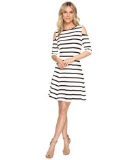 Christin Michaels Josee Cold Shoulder Fit And Flare Ivory Black Women's Dress Multi