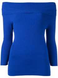 Philo Sofie Off Shoulder Fitted Knit Top Blue