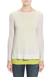 Petite Women's Halogen Double Layer Cashmere Sweater Ivory Green Colorblock