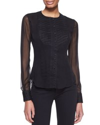 Zac Posen Embroidered Organza Bib Blouse Black Black