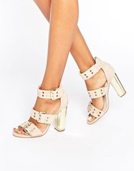 Office Shots Eyelet Strap Suede Block Heeled Sandals Nude Suede Beige