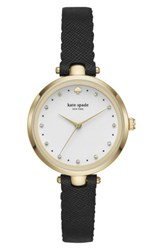 Kate Spade Women's New York Holland Leather Strap Watch 34Mm Black White Gold