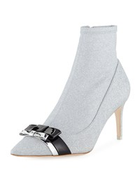 Sophia Webster Andie Glitter Double Bow Booties Silver