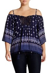 Angie Printed Cold Shoulder Blouse Plus Size Blue