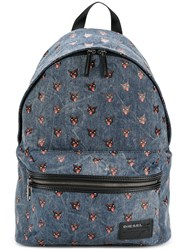 Diesel Cat Print Backpack Men Cotton Leather One Size Blue
