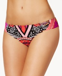 Kenneth Cole Without Borders Printed Side Tab Hipster Bikini Bottoms Women's Swimsuit Lipstick Multi
