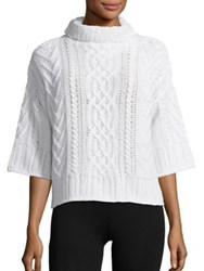 Max Mara Ercole Cable Knit Wool And Cashmere Turtleneck Sweater White