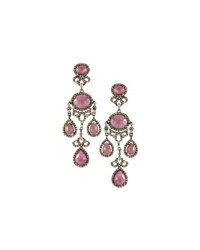 Bavna Pink Sapphire And Champagne Diamond Chandelier Earrings