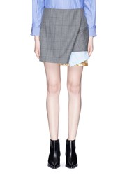 Toga Archives Layered Contrast Hem Check Plaid Wool Skirt Grey