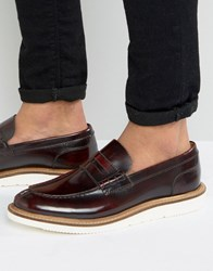 Base London Milo Leather Penny Loafers Red
