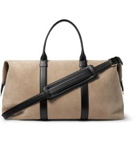 Tom Ford Leather Trimmed Suede Holdall Ecru