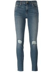 Frame Denim Ripped Knees Skinny Jeans Blue