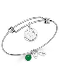 Unwritten Baby Charm And Green Aventurine 8Mm Bangle Bracelet In Stainless Steel