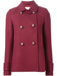 Giamba Double Breasted Short Coat Pink And Purple