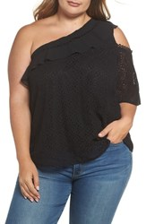 Lost Ink Plus Size One Shoulder Lace Top Black