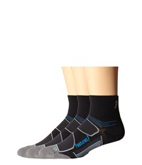 Feetures Eliter Ultra Light Quarter 3 Pair Pack Black Reflector Crew Cut Socks Shoes