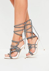 Missguided White Rope Detail Heeled Sandals