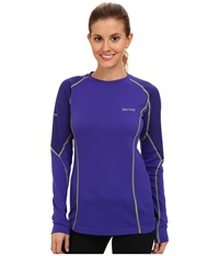 Marmot Thermalclime Pro L S Crew Electric Blue Midnight Purple Women's T Shirt