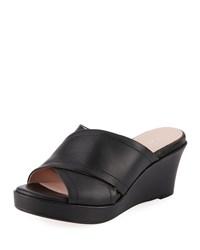 Taryn Rose Saura Crisscross Leather Mule Black