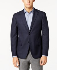 Ryan Seacrest Distinction Men's Slim Fit Blue And Gray Windowpane Sport Coat Created For Macy's