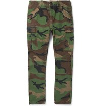 Polo Ralph Lauren Slim Fit Camouflage Print Cotton Twill Cargo Trousers Green