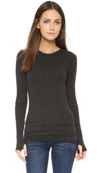 Enza Costa Cuffed Crew Neck Top Charcoal