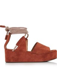 Whistles Molino Rope Suede Wedged Sandals Rust