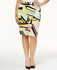 Nine West Plus Size Printed Pencil Skirt Lemon Multi