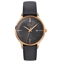 Junghans 047 7572.00 Women's Meister Date Leather Strap Watch Black