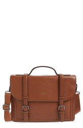 Men's Ted Baker London 'Jagala' Pebbled Leather Messenger Bag Brown Tan
