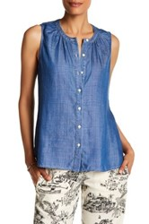 Tommy Bahama Chambray Sleeveless Front Button Blouse Blue
