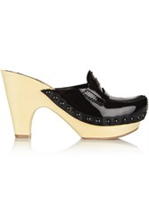 Miu Miu Patent Leather Platform Clogs Black