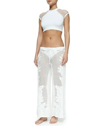 Seafolly Netted Embroidered Wide Leg Coverup Pants