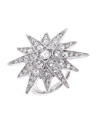 Kenneth Jay Lane Pave Star Ring Silver