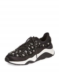 Ash Muse Beaded Mesh Sneaker Black