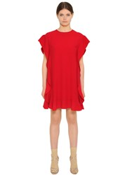 Red Valentino Ruffled Crepe Envers Satin Dress