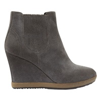 Mint Velvet Tash Leather Wedge Ankle Boots Grey