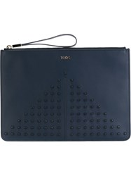Tod's Studded Zip Clutch Blue