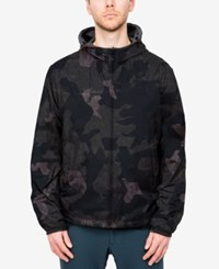 Hawke And Co. Outfitter Men's Big Tall Reversible Hooded Jacket Green Geo Camo