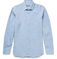 Canali Slub Linen Shirt Light Blue
