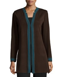 Ming Wang V Neck Striped Trim Jacket Coffee Aztec Blue