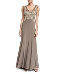 Sue Wong Sleeveless Embellished Bodice Gown Taupe Brown Women's