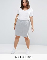 Asos Curve Sweat Skirt With Lace Up Detail Grey