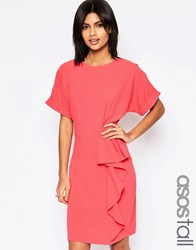 Asos Tall Waterfall Pencil Dress Coral Red