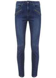 Mint Velvet Darby Authentic Indigo Biker Skinny Jean Blue